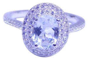 9.2.5 Appealing Oval shape Starburst cut AQUAMARINE Ring 4 CT Natural Precious Stone in an Halo Settings Sterling Silver