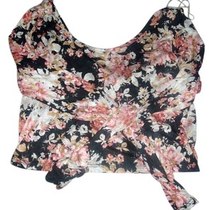 Charlotte Russe Croptop Floraltop Midriff Bodycon Sexy Back Top red black