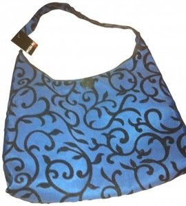 Mycra Pac Purse Shoulderbag Handbag Flocked Scroll Travel Hobo Work Lunch Lunchbag Office Carry All Medium Gift Carryall Rain Tote in blue and black