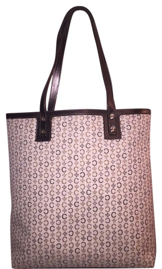 Céline Signature Canvas Logo Totebag Mint Condition Vintage Tote in tan and brown on beige background Image 0