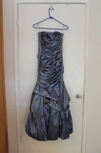 Jessica McClintock Blue Stretch Taffeta Long Gown 54292 Dress
