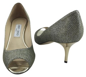 Jimmy Choo Glitter Pointy Bronze Pumps