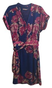 Eliza J short dress Blue and purple foral on Tradesy