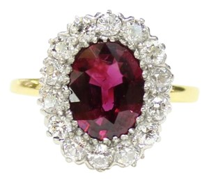 Tiffany & Co. Vintage Tiffany & Co Ruby Diamond Halo Alternative Engagement 18K Gold Ring