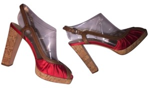 Prada Cherry Red Satin Platforms