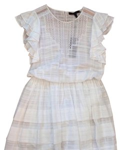 BCBGMAXAZRIA short dress White Lace Tiered Ruffle on Tradesy