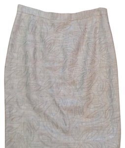 Carmen Marc Valvo Embroidered Pencil Linen Silk Elastic Skirt Tan