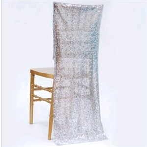 4 Dutches Sequin Silver Fabric Chair Covers!