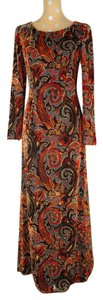 Escada Velvet Maxi Evening Silk Frn Fronds Dress