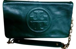 Tory Burch Green Leather Perfectcondition New Clean Emerald green Clutch