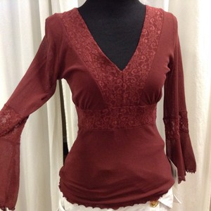 Sweet Pea by Stacy Frati Mesh Boho Bohemian Lace Scalloped Top Burgandy