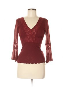 Sweet Pea by Stacy Frati Mesh Boho Bohemian Lace Festival Top Burgundy Red