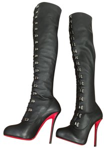 Christian Louboutin Top Croche Thigh High Boot black Boots