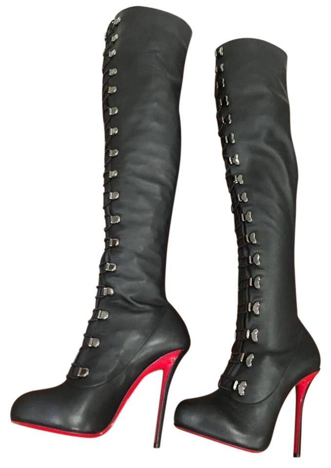 271f5dda563 Christian Louboutin Black Top Croche 120 Over The Knee Heel 36.5 ...