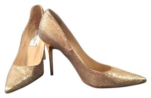 Jimmy Choo Glitter Heels Gold Pumps