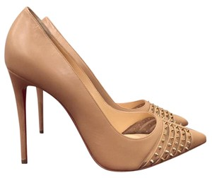 Christian Louboutin Bareta Spike Kid Leather Stiletto nude Pumps