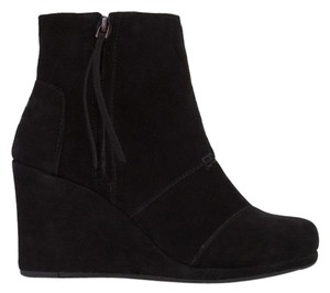 TOMS Black Suede Wedges