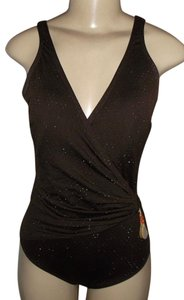 Gottex Womens Gottex One Piece Swimsuit Brown / Gold Sparkles Size 6