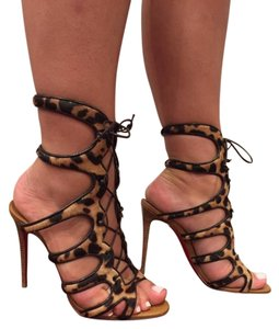 Christian Louboutin Amazoulo Gladiator Lace Tie Stiletto brown Pumps