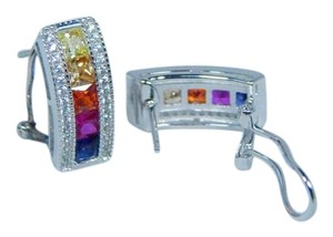 9.2.5 RAINBOW SAPPHIRE SINGLE ROW BAND 3mm ROUND Latch Back STERLING SILVER