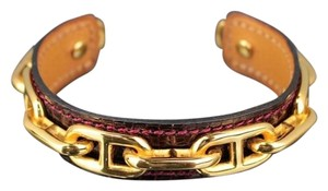 Hermès Hermes Burgundy Red Lizardskin Lizard Chaine d'Ancre Bangle Cuff Bracelet.