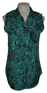 Banana Republic Zebra Jungle Print Sleeveless Casual Resort Top Teal/Black