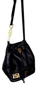 Cache Vintage Leather Gold Hardware Drawstring Shoulder Bag