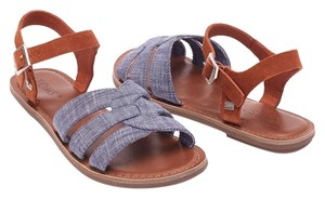 TOMS Zoe Brown Chambray Suede Sandals