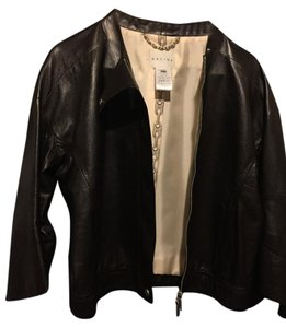 Céline Blazer Soft Leather Black Dark Brown Leather Jacket