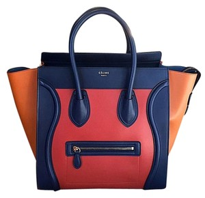 197372d28d Céline Iconic Trendsetter Style Classy Tote in MULTI BROWN BRICK navy blue