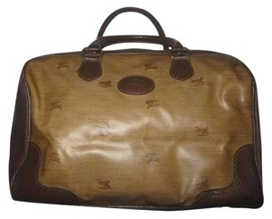 Burberry High-end Bohemian Satchel in mini knight logo print &leather in shades of brown