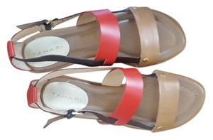 Tahari red/camel/brown Sandals