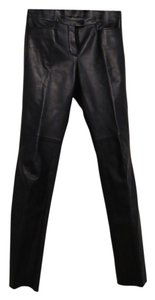 Armani Collezioni Lined Soft Leather Calfskin Boot Cut Pants Black