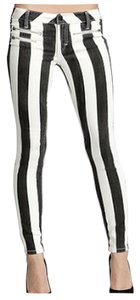bebe Black White Skinny Jeans-Medium Wash