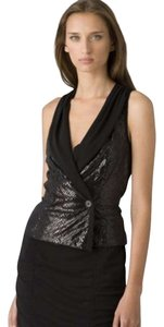 Iisli Vest Faux Reptile Sleeveless V-neck Viscose Top Black