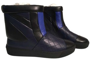 Chanel Leather Color Block Quilted Black/Navy Blue/Royal Blue Boots