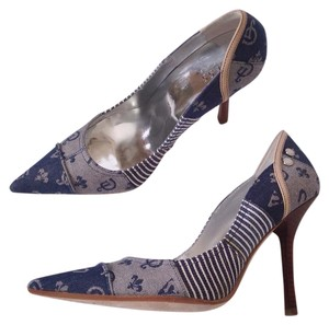 Guess By Marciano Denim Leather Floral Wood Blue Pumps