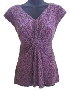Liz & Co. Pattern Knit Summer Print Top Purple