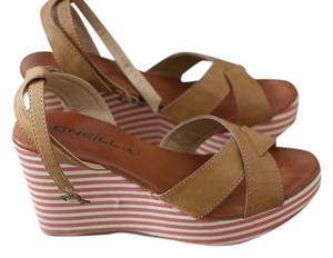 O'Neill Classic Striped Leather Tan Tan, Raspberry and White Wedges