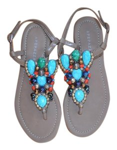 Apepazza Beaded Leather Tan and Multi-Color Stones Sandals