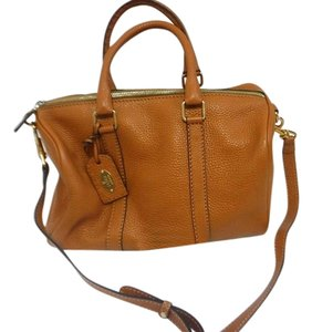 Fendi Leather Pebbled Gold Hardware Satchel in Tan