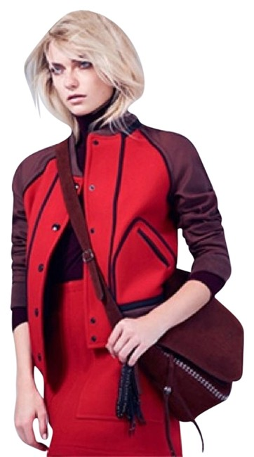 Item - Red Leather Trimmed Wool and Satin Twill Bomber Coat S Small Letter Maroon Brown Black Leather Accent Jacket Size 4 (S)