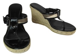 Burberry Black Leather Nova Check Wedge Sandals