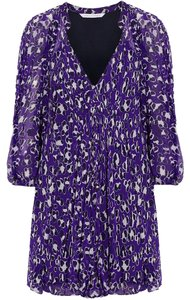 Diane von Furstenberg short dress Purple Dvf Silk Fleurette Brand-new on Tradesy