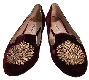 Miu Miu Velvet Gold Applique Burgundy/Gold Flats