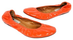 Lanvin Ballet Espadrille Monogram Leather Reva Orange Flats