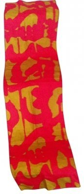 Vera Neumann Vintage Vera Neumann SILK Long Scarf Classic Collectible in Orange and Gold Handscreened in USA