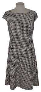Anne Klein short dress Beige/Black Textured Wavy Striped on Tradesy