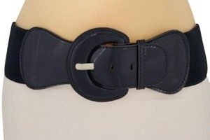 Other Women Fashion Belt Hip Waist Dark Navy Blue Elastic Buckle Plus