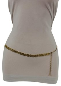 Other Women Fashion Belt Hip High Waist Gold Metal Chain Square Link Charms Skinny